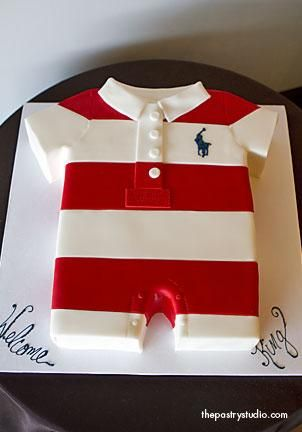 a baby shower cake made out of mom and dad's favorite polo onesie. serves 35