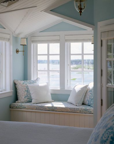 Pretty pastel blues echo the water view in this country cottage bedroom window seat... Bedroom - traditional - bedroom - boston - by Polhemus Savery DaSilva                                                                                                                                                      More