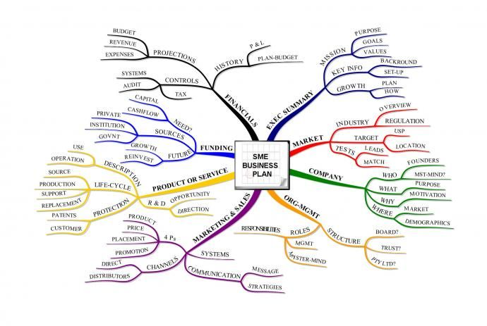 SME Business Plan Mind Map