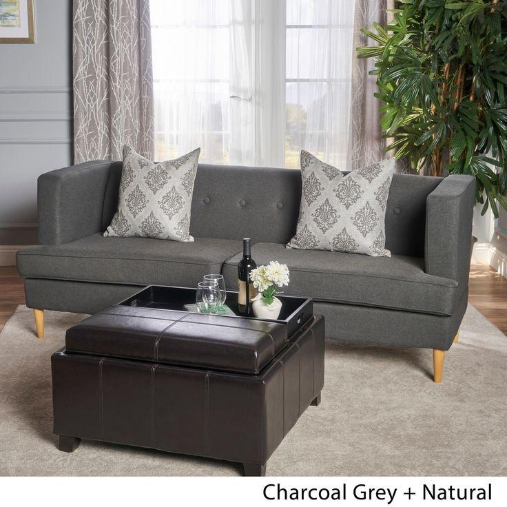 Carson Carrington Larvik Mid-century Modern Fabric Sofa (Charcoal Grey + Natural) (Birch)