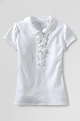 School Uniform Girls' Short Sleeve Peter Pan Ruffle Front Knit Polo from Lands' End
