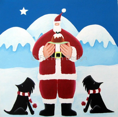 Christmas Puddings Scottie Scottish terrier Christmas card from Fat Hen Design