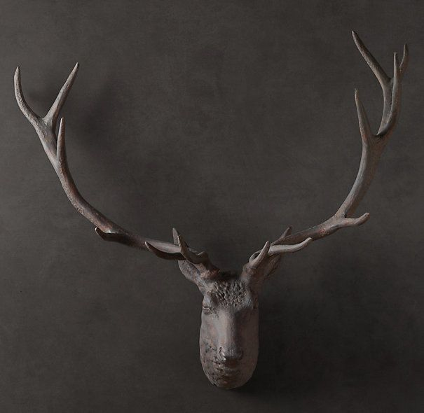 Want 1890 iron stag head horns antlers restoration hardware hannah billick - Decorative stags head ...