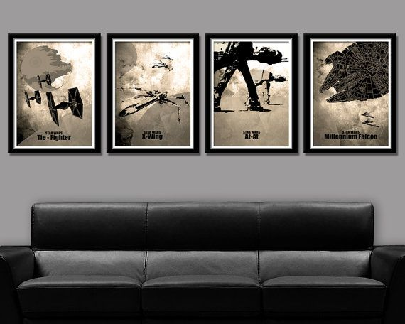 Force Inspired Minimalist Movie Poster Set - Home Decor (Sepia)