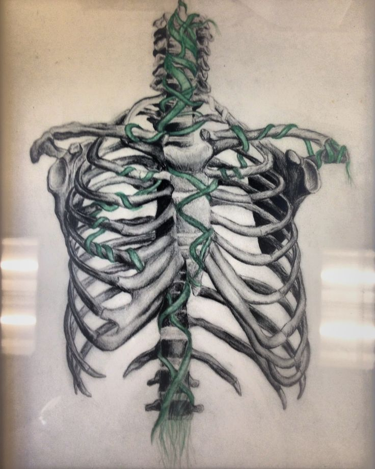 After weeks of learning how to draw from a skeleton, this 9th grade female student from Fort Myers, Florida applied her interest of the human anatomy and bones to a charcoal drawing. This is one in a series of 10 that exhibits a metaphor for how life seeps from our bones.