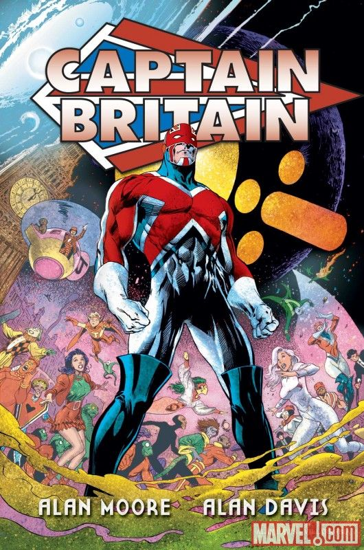Another trade paperback cover: this is for Captain Britain Volume 2, drawn by Alan Davis. I do like this cover, with the mayhem of the stories in the background and Cap looking particularly heroic and noble. In fact, I like it so much, I'll post the...