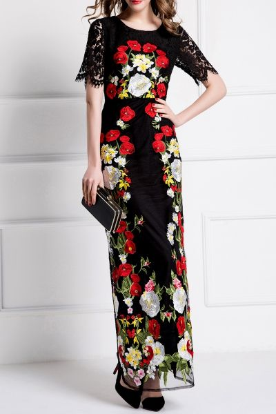 Bymegyn Black Embroidered Lace Evening Dress   Maxi Dresses at DEZZAL Click on picture to purchase!