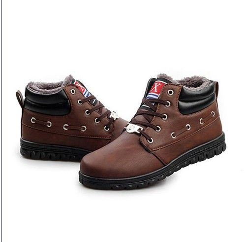 2013 Free shipping + Hot-selling Winter men shoes fashion warm velvet padded PU leather high-top casual cotton men boots  XMX061 $37.99