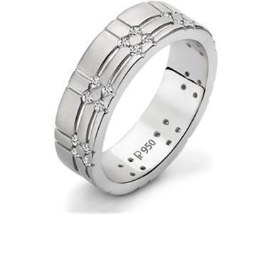 Platinum textured men's ring with flush set diamonds in a matt finish.Product code:'27'