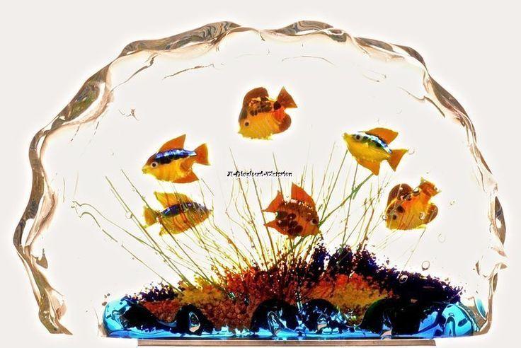 LARGE MURANO GLASS AQUARIUM ART GLASS FISH SCULPTURE PAPERWEIGHT