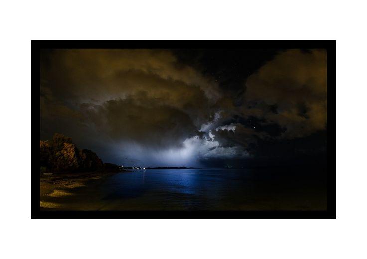 Stormy weather and heavy rain over Evia as seen from Marathonas beach in Athens . . . . . #rain #storm #clouds #thunderstorm #sky #weather  #nature #sea #seascpe #landscape #nightscape #autumn #autumn #beach #sea #marathonas #marathonasbeach #attiki #greece #hellas #NikonD3s #Nikon #amazing #nature