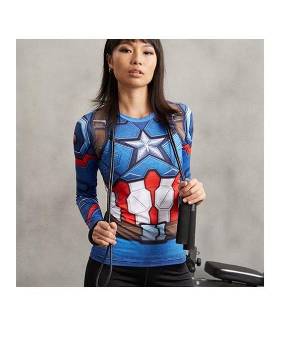 Ladies Captain America Long Sleeve Compression Shirt 3 #Shirts #SuperGirlShirt #leggings #captainamerica