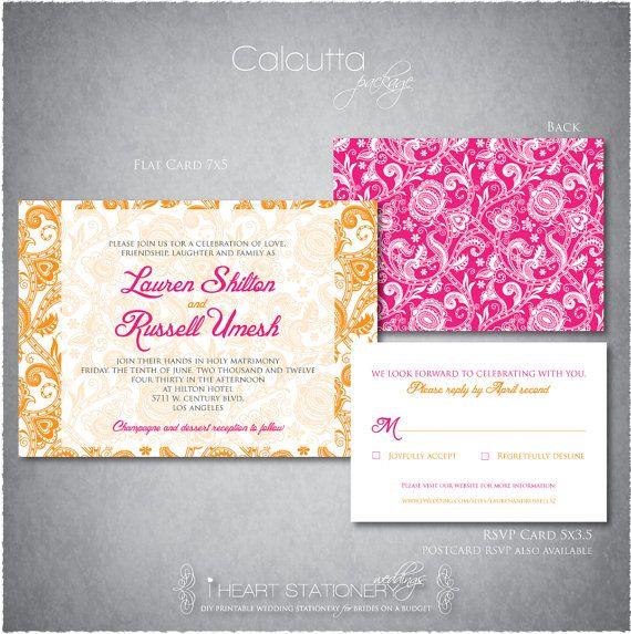 Printable Wedding Invitations and RSVP - Modern Mehendi  $25