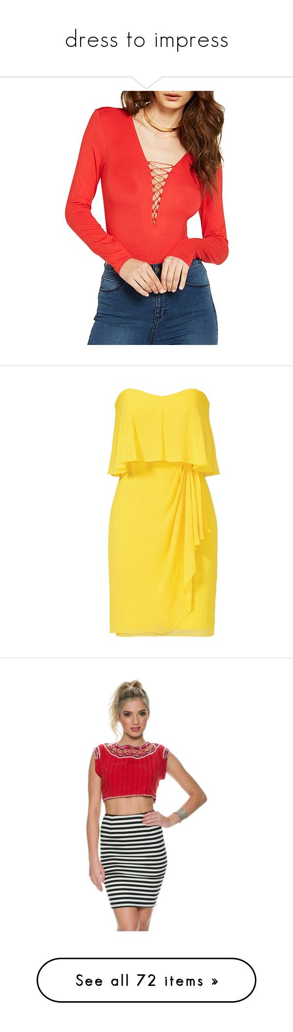 """dress to impress"" by spazzyds ❤ liked on Polyvore featuring intimates, shapewear, pepper, dresses, vestidos, yellow, strapless cocktail dresses, yellow ruffle dress, yellow strapless dress and cocktail draped dress"