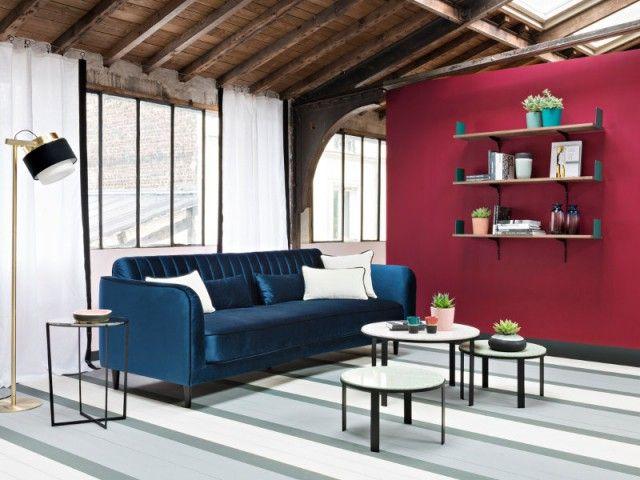 Exceptionnel Les 25 meilleures idées de la catégorie Canapé en velours bleu sur  RV67