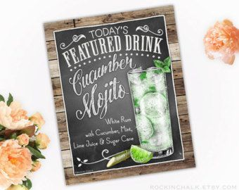 Signature Drink Sign  Illustrated Chalkboard Style by RockinChalk