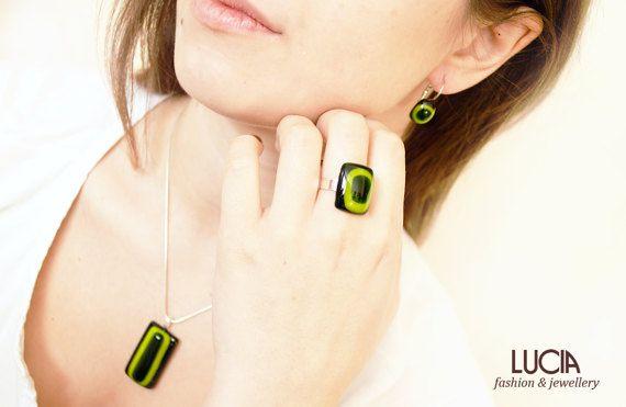 Dark and light green glass jewelry set Fused glass pendant