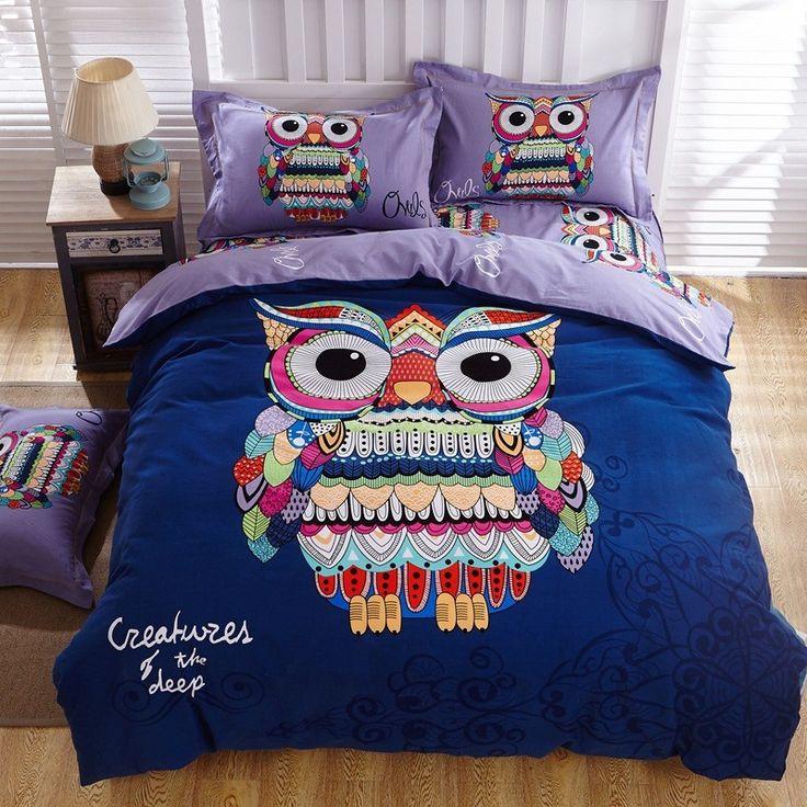 100% Cotton Bedding Set Cartoon Owl Print King Size