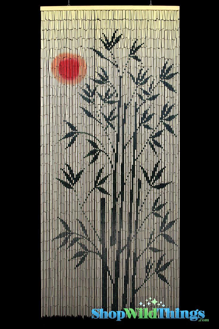 bamboo painted curtain sun tree door