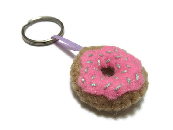 Pink Donut Key Chain. Funny Food Gift. Food Key Chain. Cool