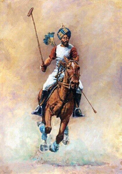 This is a stunning picture of a Bengal Lancer Sikh Polo Player 1900