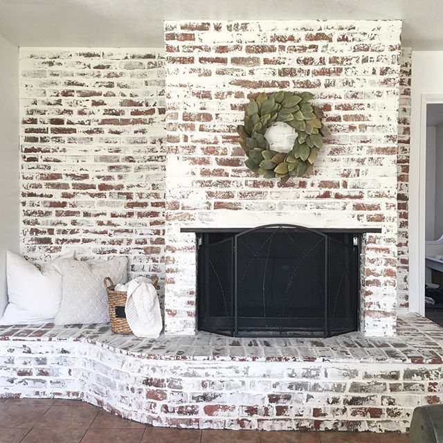 """Good evening friends! Here is the finish look of the Faux """"German Smear"""" brick fireplace! I seriously can't get over on how AMAZING it turned out! Thanks to my boo Jessica @the_rusticpallet for helping me (aka taking over) and all the other projects! I couldn't have done this with out you."""