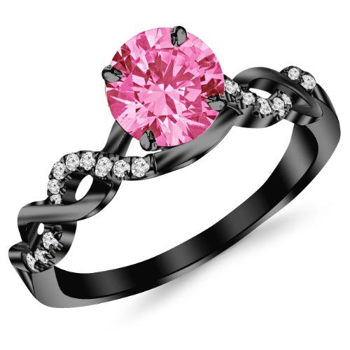 0.63 Carat 14K #Black #Gold Engagement #Ring with a 0.5 Carat Natural Pink Sapphire.