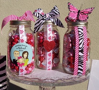 Mason jars filled with chocolate. Fun Valentine's Day teacher/friend gifts.