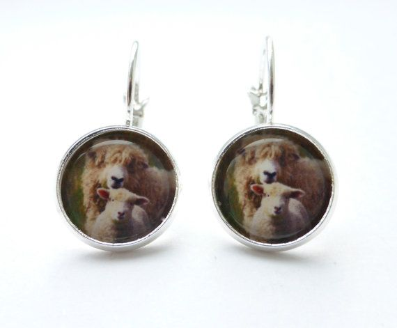 Sale -White Sheep and Lamb Handmade Earrings, Photo Jewellery Jewelry, Silver Round Picture Image, OOAK Earrings, Animal Earrings