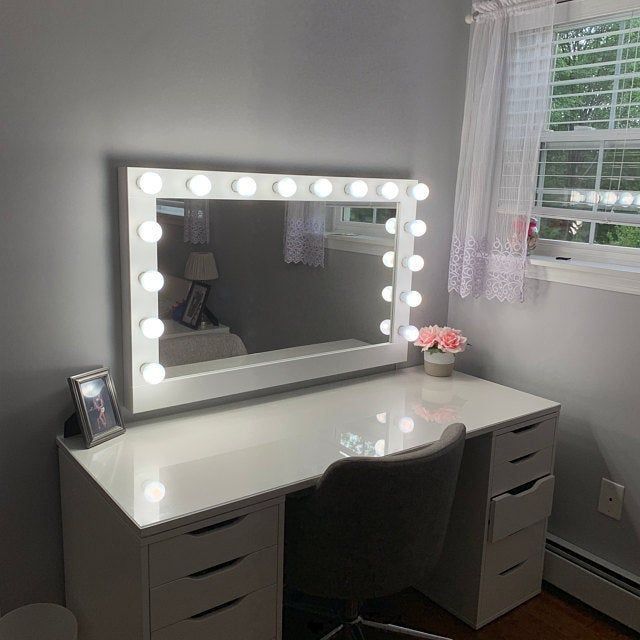 Hollywood Lighted Vanity Mirror Large Makeup Mirror With Etsy