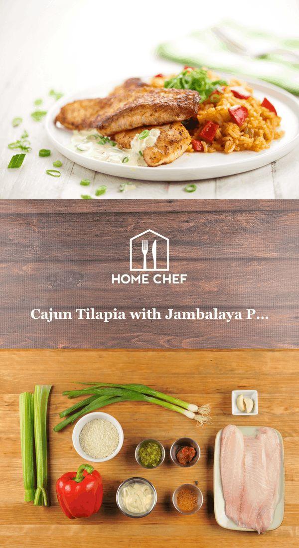 Cajun Tilapia with Jambalaya Pilaf and green onion remoulade