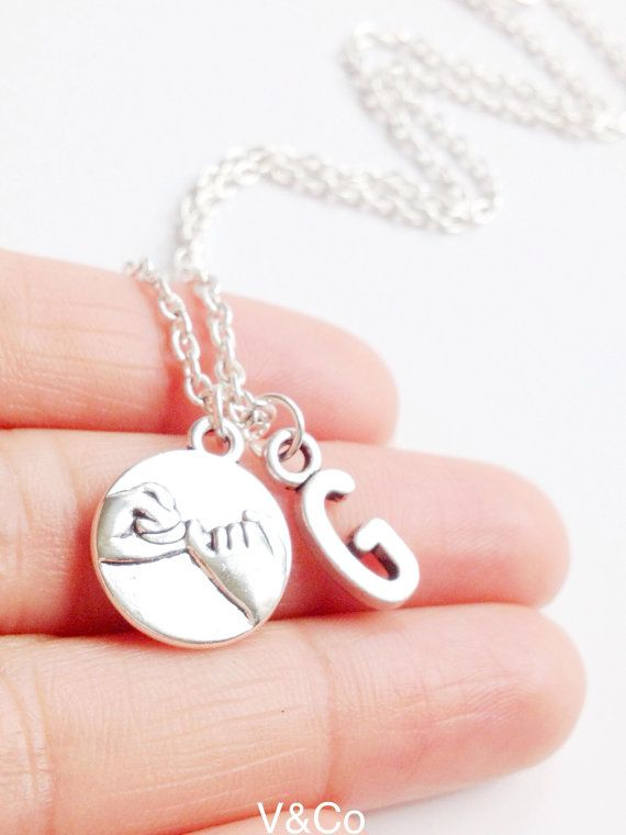 Pinky Promise Necklace with InitialBest Friend by VelazioAndCo, $15.99