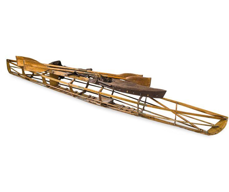 Houten frame van de kano waarin Engelandvaarders Henri en Willem Peteri van Katwijk naar Sizewell varen.
