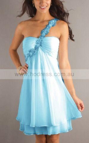 A-line One Shoulder Knee-length Chiffon Empire Formal Dresses gt1437--Hodress