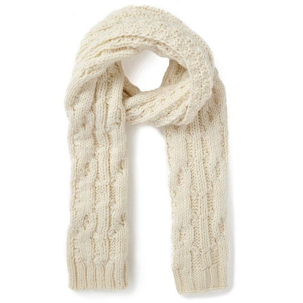 Warehouse Cable Knitt Scarf ($25) ❤ liked on Polyvore featuring accessories, scarves, cream, cable knit scarves, wrap shawl and cable knit shawl