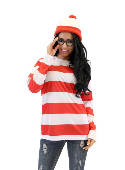 While it's always fun to sit down with your little one or just sit alone and search out Waldo or Wally in any of the numerous books that have been published over the last 20 years, for us in real life it isn't always fun to just blend in. If you love all things Waldo and want to make your friends laugh at your next Halloween party, then we suggest this outrageous and fun Where's Waldo Halloween costume. Trust us, there is not going to be anyone that will have trouble stopping you in a crowd…