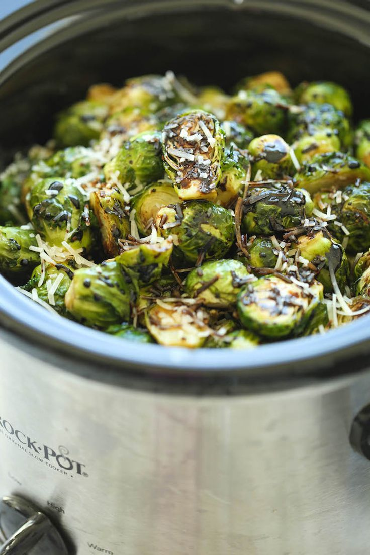 Slow cooker balsamic brussels sprouts. Get the recipe.