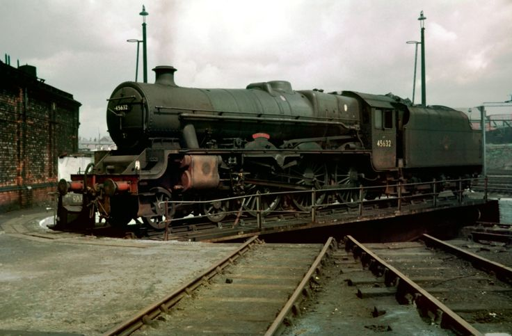 "45632 ""Tonga"" LMSR Jubilee 4-6-0  on the turntable at 9B Stockport Edgeley. Photo by Alastair Wood"