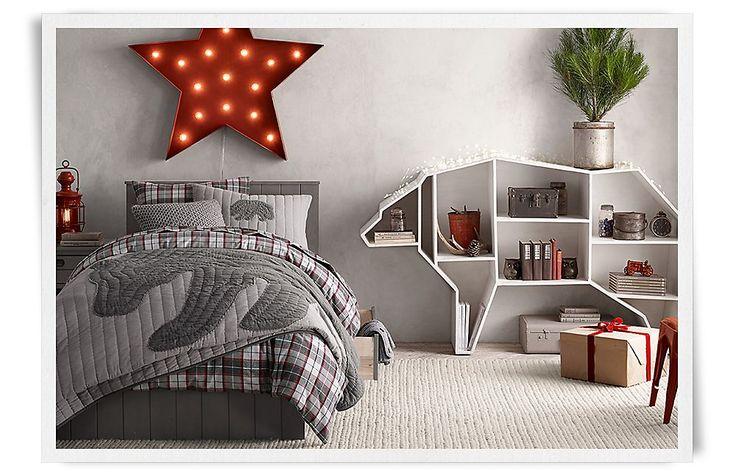 I love the idea of creating a bookshelf shaped like an animal or superhero maskRooms | Restoration Hardware Baby & Child