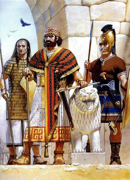 Darius the Great between his Hittite Charioteer and Hittite Royal Guard L – R…