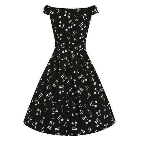 Christie Music lange off-shoulder swing jurk met muziek print zwart - Vintage, 50's, Rockabilly