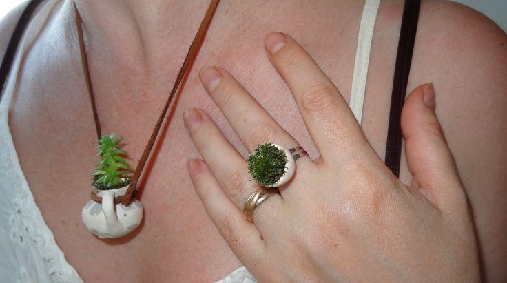 bijuterii decorate cu muschi viu si plante. Se uda odata pe zi.