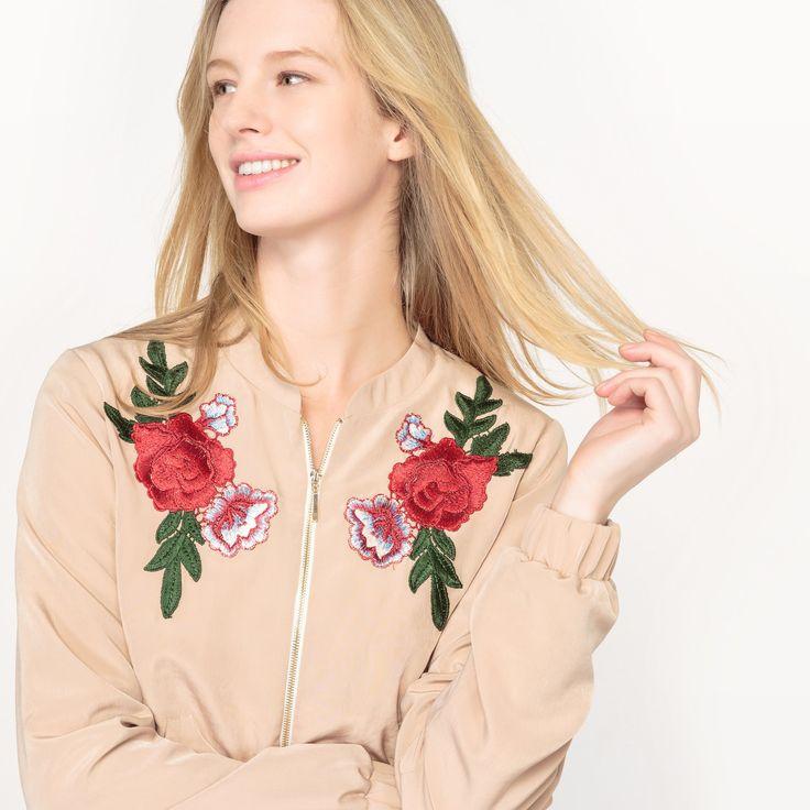 Blusão bomber com bordado flores da Mademoiselle R
