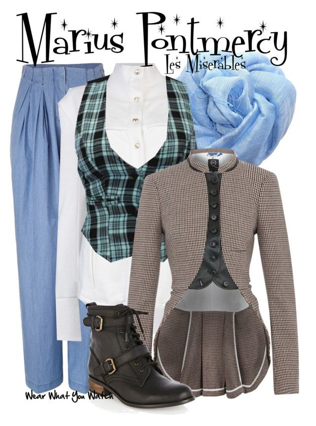 """Les Miserables"" by wearwhatyouwatch ❤ liked on Polyvore featuring See by Chloé, Balmain, McQ by Alexander McQueen, Oasis, ankle boots, plaid, tweed, tweed blazers, scarf prints and eddie redmaybe"