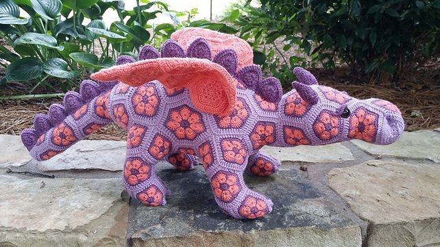 Free Knitted Crochet African Flower Pattern Dragon - Crochet Craft, Crochet Animal