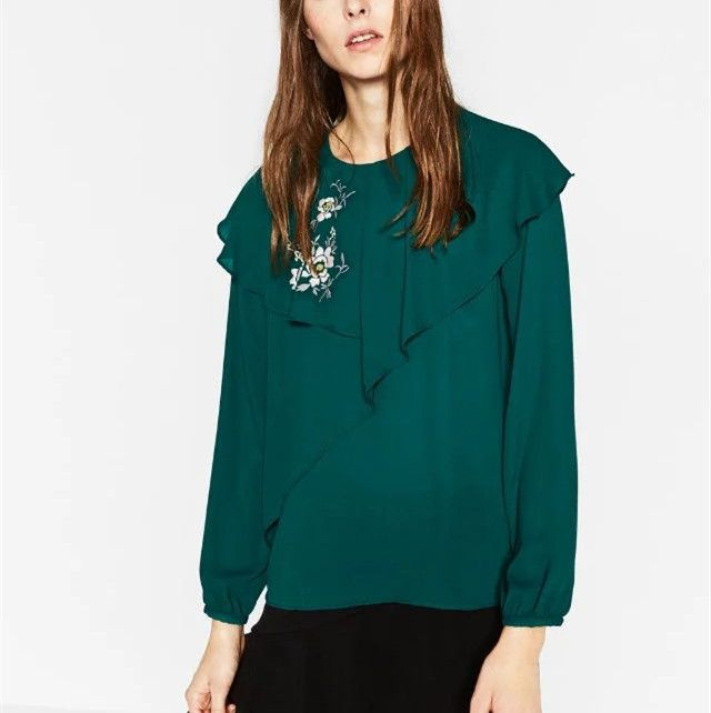 Fashion Embroidery Blouse European Style  Long Sleeve Shirts blusas Ruched Women Tops plus Size