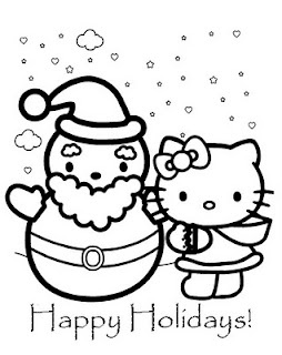 Hello Kitty for Christmas.  There's a Hello Kitty colouring page out there for every season.