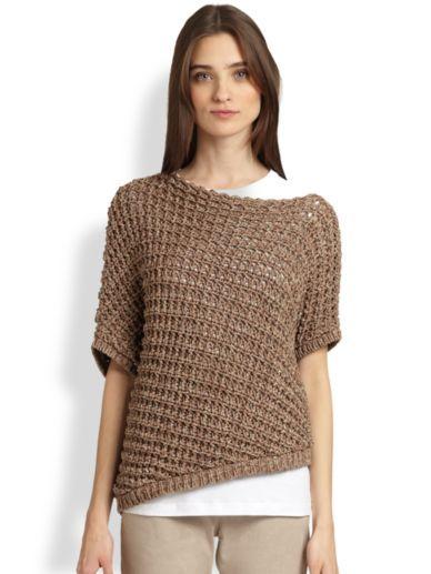 Brunello Cucinelli - diamond stitch knit top asymmetric hem cotton:polyamid biscotte . http://www.saksfifthavenue.com/main/ProductDetail.jsp?FOLDER%3C%3Efolder_id=2534374306418063&PRODUCT%3C%3Eprd_id=845524446658546&site_refer=AFF001&mid=13816&siteID=Hy3bqNL2jtQ-6L0XAW74WIldCnoBJjS1qQ&LScreativeid=1&LSlinkid=10&LSoid=304450