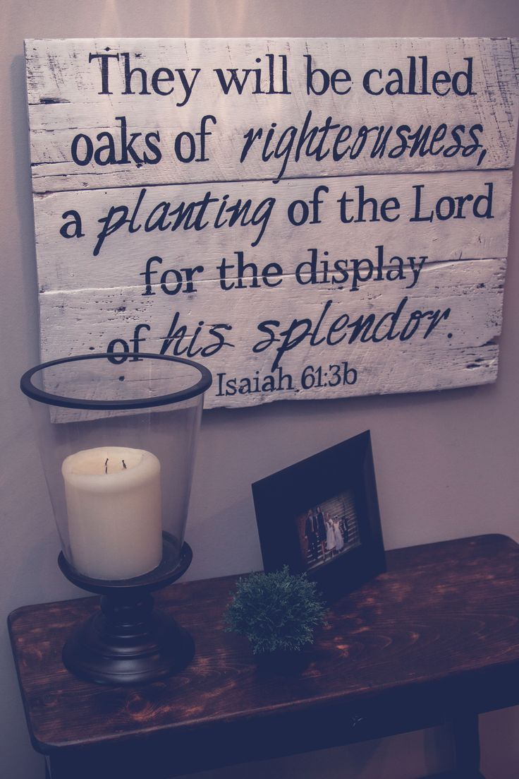 """Our Oaks of Righteousness piece measures approximately 28""""X20"""" and in distressed white finish"""