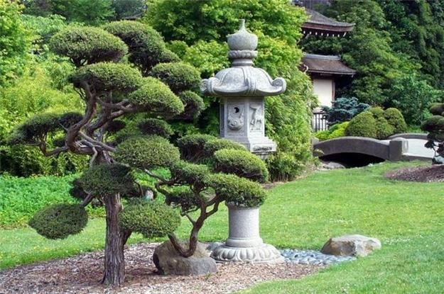 beautiful outdoor living spaces | Japanese garden with stone lantern and miniature tree in Japanese ...